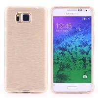 Силиконовый полупрозрачный чехол текстура Металл для Samsung Galaxy Alpha Бежевый