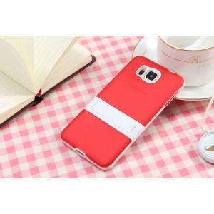 Двухкомпонентный силиконовый чехол с пластиковым бампером-подставкой для Samsung Galaxy Alpha Красный
