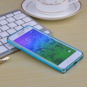 Металлический двухцветный бампер для Samsung Galaxy Alpha Голубой