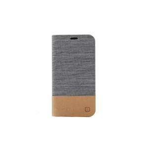Чехол флип подставка с тканевой отделкой на силиконовой основе для Samsung Galaxy Core Prime