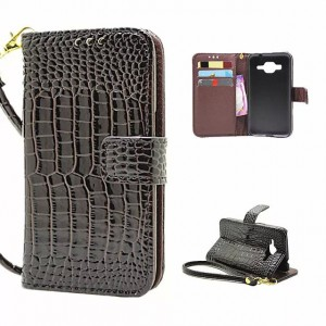 Чехол портмоне подставка с защелкой на пластиковой основе текстура Крокодил для Samsung Galaxy Core Prime