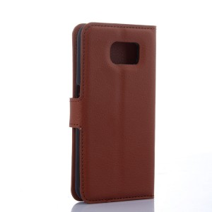 Чехол портмоне подставка на силиконовой основе с отсеком для карт и магнитной застежкой для Samsung Galaxy S6 Коричневый