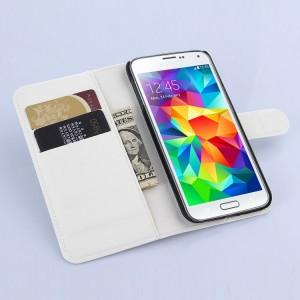Чехол портмоне подставка на силиконовой основе с отсеком для карт и магнитной застежкой для Samsung Galaxy S6 Белый
