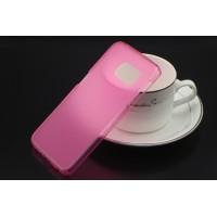 Силиконовый матовый полупрозрачный чехол для Samsung Galaxy S6 Розовый