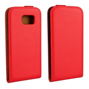Чехол вертикальная книжка на пластиковой основе для Samsung Galaxy S6 Красный