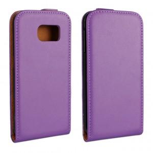 Чехол вертикальная книжка на пластиковой основе для Samsung Galaxy S6 Фиолетовый