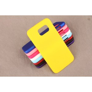 Пластиковый матовый непрозрачный чехол для Samsung Galaxy S6 Желтый