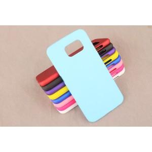Пластиковый матовый непрозрачный чехол для Samsung Galaxy S6 Голубой