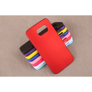 Пластиковый матовый непрозрачный чехол для Samsung Galaxy S6 Красный