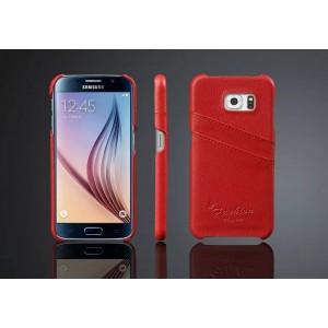 Дизайнерский кожаный чехол накладка с отделениями для карт для Samsung Galaxy S6 Красный