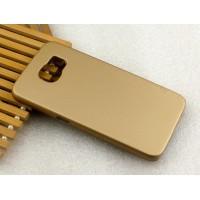 Пластиковый матовый металлик чехол для Samsung Galaxy S6 Бежевый