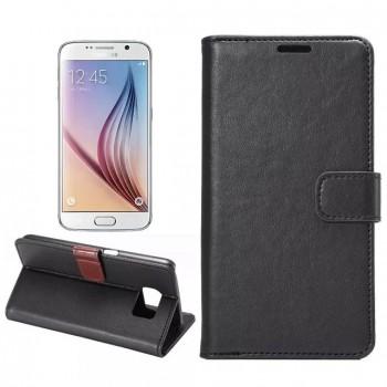 Чехол портмоне подставка на пластиковой основе с защелкой для Samsung Galaxy S6