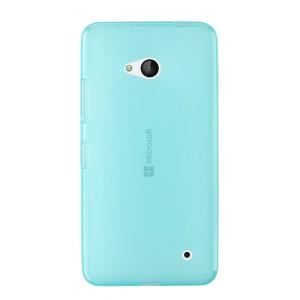 Силиконовый матовый полупрозрачный чехол для Microsoft Lumia 640 Голубой
