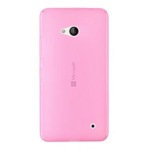 Силиконовый матовый полупрозрачный чехол для Microsoft Lumia 640 Розовый