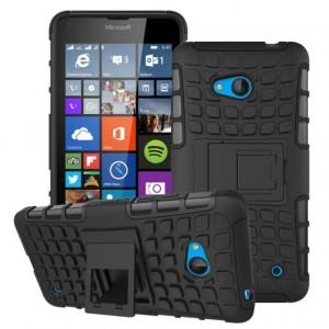 Силиконовый чехол экстрим защита с функцией подставки для Microsoft Lumia 640 Черный
