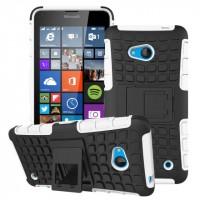 Силиконовый чехол экстрим защита с функцией подставки для Microsoft Lumia 640 Белый