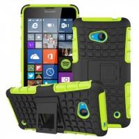 Силиконовый чехол экстрим защита с функцией подставки для Microsoft Lumia 640 Зеленый