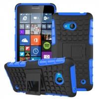 Силиконовый чехол экстрим защита с функцией подставки для Microsoft Lumia 640 Синий