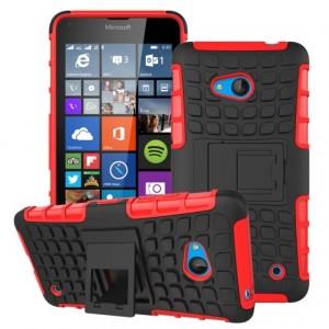 Силиконовый чехол экстрим защита с функцией подставки для Microsoft Lumia 640 Красный