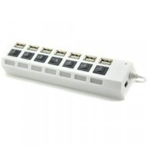 Хаб USB 2.0 OTG с независимыми выключателями для подключения 7-х периферийных USB устройств Белый