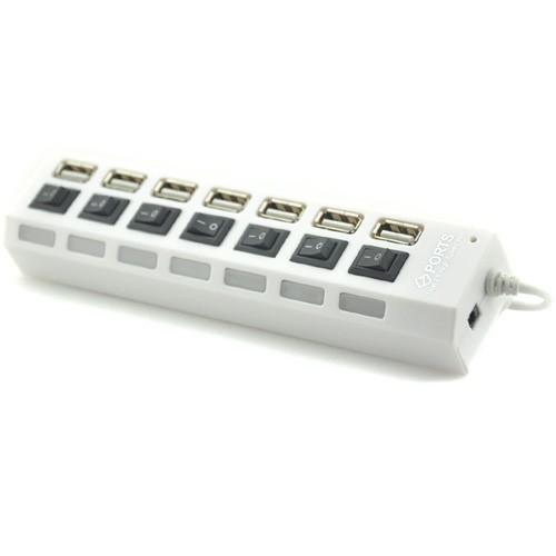 Хаб USB 2.0 OTG с независимыми выключателями для подключения 7-х периферийных USB устройств