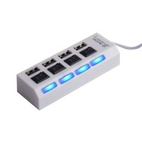 Хаб USB 2.0 OTG с независимыми выключателями для подключения 4-х периферийных USB устройств Белый