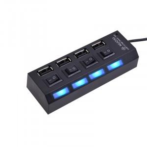 Хаб USB 2.0 OTG с независимыми выключателями для подключения 4-х периферийных USB устройств Черный