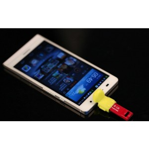 Нанопереходник MicroUSB-USB OTG дизайн Андроид для подключения периферийных USB устройств Желтый