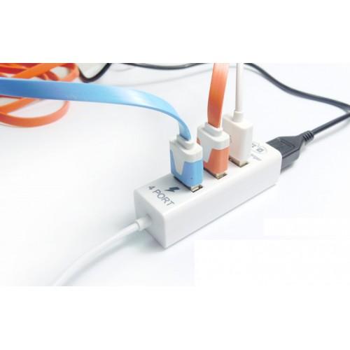 Хаб USB 2.0 OTG для подключения 3-х периферийных USB устройств с портом для зарядки