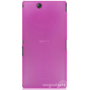 Пластиковый матовый полупрозрачный чехол для Sony Xperia Z Ultra Розовый
