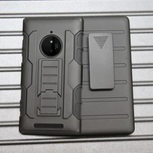 Трехкомпонентный ударостойкий силиконовый чехол с поликарбонатной крышкой и независимым защитным модулем для экрана на клипсе под ремень для Nokia Lumia 830