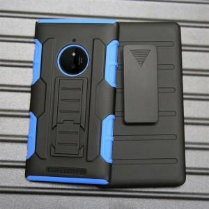 Трехкомпонентный ударостойкий силиконовый чехол с поликарбонатной крышкой и независимым защитным модулем для экрана на клипсе под ремень для Nokia Lumia 830 Синий