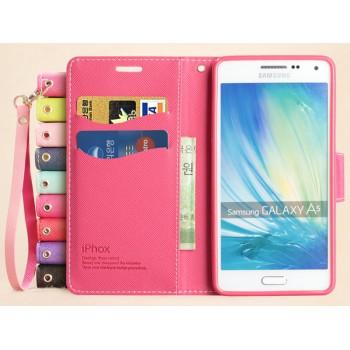 Дизайнерский чехол портмоне подставка на силиконовой основе с ремешком для Samsung Galaxy A5