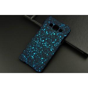 Пластиковый матовый дизайнерский чехол с голографическим принтом Звезды для Samsung Galaxy A5 Голубой