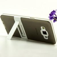 Двухкомпонентный силиконовый чехол с пластиковым каркасом-подставкой для Samsung Galaxy A5 Серый