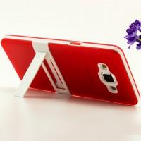 Двухкомпонентный силиконовый чехол с пластиковым каркасом-подставкой для Samsung Galaxy A5 Красный