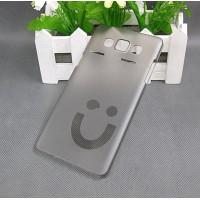 Пластиковый матовый полупрозрачный дизайнерский чехол Smile для Samsung Galaxy A5 Серый