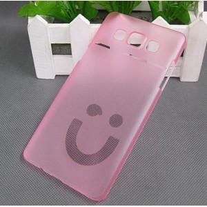 Пластиковый матовый полупрозрачный дизайнерский чехол Smile для Samsung Galaxy A5 Розовый