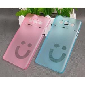 Пластиковый матовый полупрозрачный дизайнерский чехол Smile для Samsung Galaxy A5 Голубой