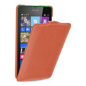 Кожаный чехол вертикальная книжка (нат. кожа) для Microsoft Lumia 535