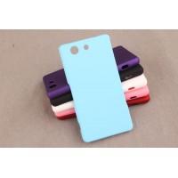 Пластиковый матовый непрозрачный чехол для Sony Xperia Z3 Compact Голубой