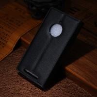 Чехол портмоне подставка зернистой текстуры с защелкой на пластиковой основе для Nokia Lumia 830 Черный