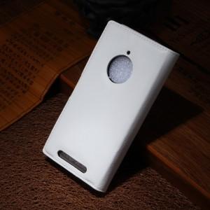 Чехол портмоне подставка зернистой текстуры с защелкой для Nokia Lumia 830 Белый
