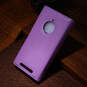 Чехол портмоне подставка зернистой текстуры с защелкой для Nokia Lumia 830 Фиолетовый