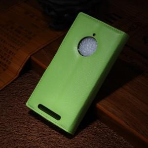Чехол портмоне подставка зернистой текстуры с защелкой для Nokia Lumia 830 Зеленый