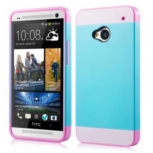 Двуцветный чехол силикон-пластик для HTC One (M7) Dual SIM голуб-роз