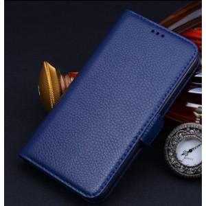 Кожаный чехол портмоне (нат. кожа) для Huawei Honor 4X Синий