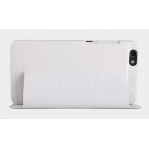 Текстурный чехол флип подставка с внутренним карманом на пластиковой основе для Huawei Honor 4X Белый