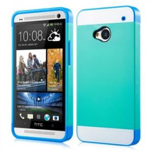 Двуцветный чехол силикон-пластик для HTC One (M7) Dual SIM зелен-голуб
