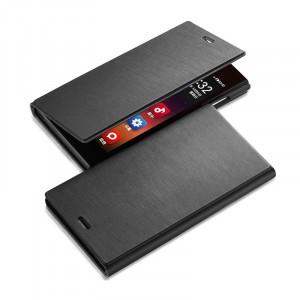 Полиуретановый чехол флип-подставка на пластиковой основе для Alcatel One Touch Idol 2S Черный